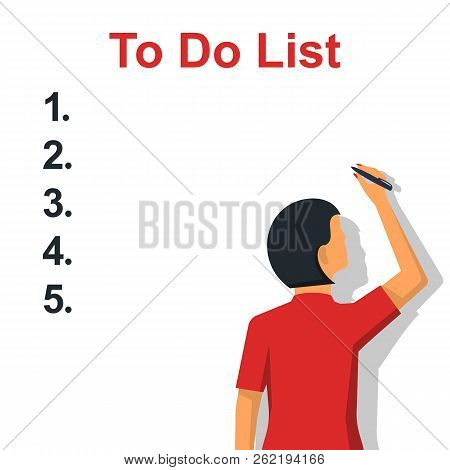 Writing To Do List. Checking Plan. Woman Writes A List Of Cases With A Pencil. Vector Illustration F