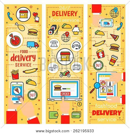 Fast Food Delivery Service, Online Fastfood Restaurant Or Cafe Theme. Vector Order Delivery And Purc