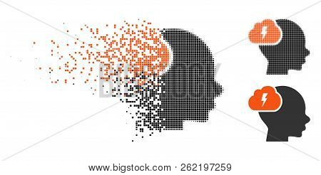 Brainstorm Icon In Disappearing, Pixelated Halftone And Undamaged Entire Variants. Particles Are Org