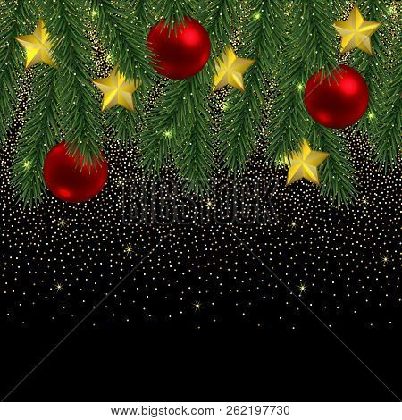 christmas and new year seamless border with glitter and fir tree