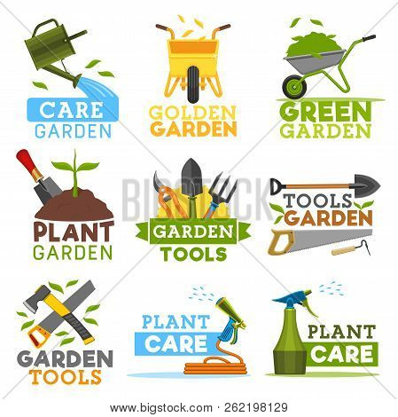 Gardening And Farming Icons, Farmer Tools. Vector Garden Plants, Watering Can And Wheelbarrow With G