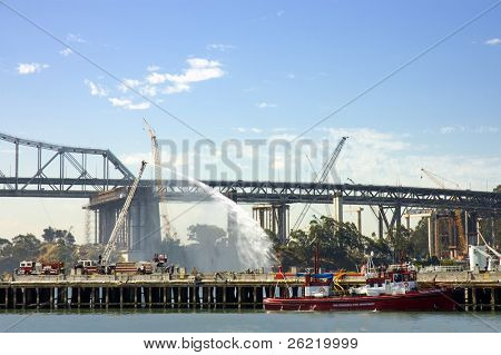 San Francisco fire dept during fire drill exercise at the new construction site of the New Bay Bridge during June 2008