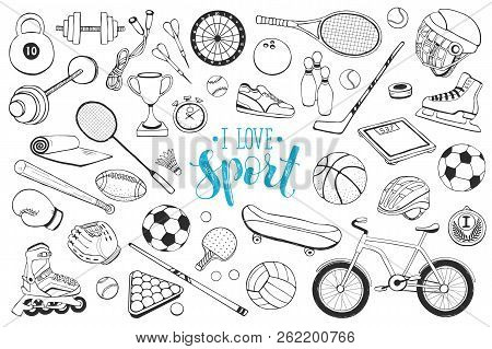 Collection Of Vector Sport Equipment. Doodle Sport Items Illustration. Hand Drawn Sport Balls, Racke
