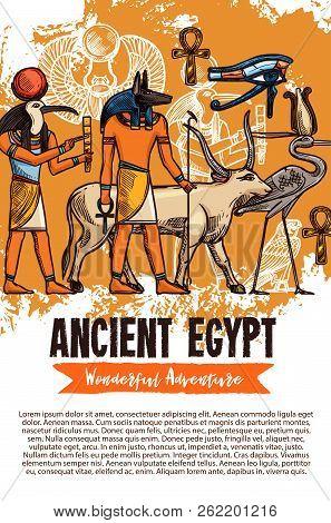 Ancient Egypt Sketch Travel Adventure Of Egyptian Gods, Deity And Pharaoh Religious Culture Symbols.