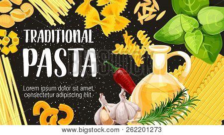 Italian Pasta, Traditional Italy Cuisine Cooking. Vector Linguini, Spaghetti Or Farfalle And Conchig