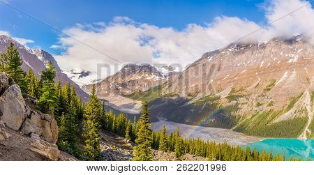 Panoramic View At The Peyto Lake ,peyto Peek With Rainbow From Bow Summit In Banff National Park, Ca