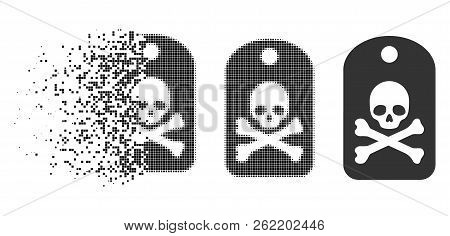 Death Sticker Icon In Dissipating, Dotted Halftone And Undamaged Solid Versions. Pixels Are Organize