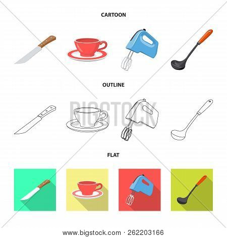 Vector Illustration Of Kitchen And Cook Sign. Collection Of Kitchen And Appliance Stock Vector Illus