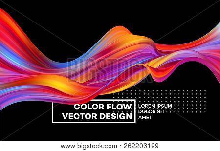 Modern Colorful Flow Poster. Wave Liquid Shape Color Background. Art Design For Your Design Project.