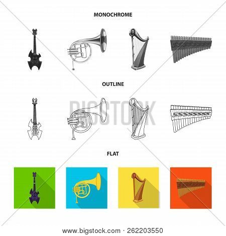 Isolated Object Of Music And Tune Logo. Set Of Music And Tool Stock Symbol For Web.
