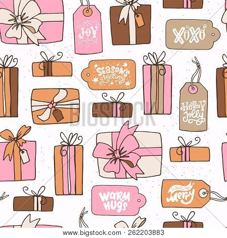 Winter Holiday Seamless Pattern With Hand Drawn Cartoon Presents And Gift Tags With Christmasy Phras