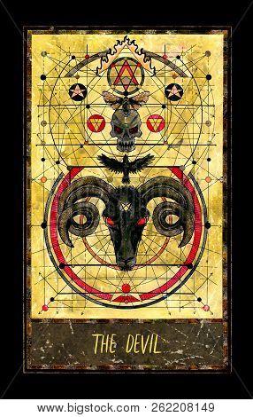 Devil. Major Arcana Tarot Card. The Magic Gate Deck. Fantasy Graphic Illustration With Occult Magic