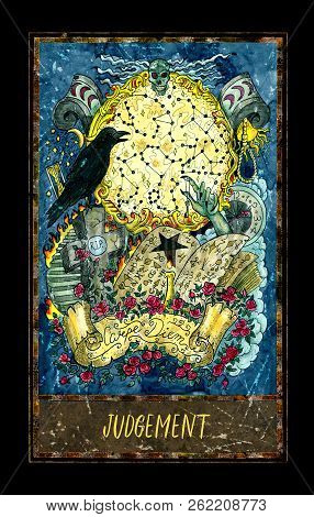 Judgement. Major Arcana Tarot Card. The Magic Gate Deck. Fantasy Graphic Illustration With Occult Ma