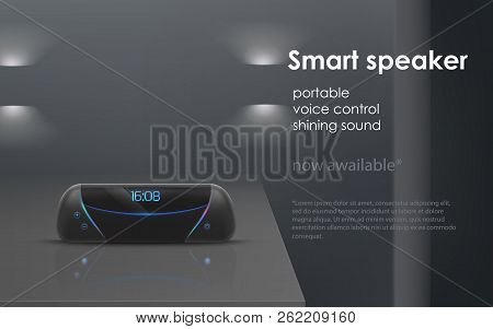 Vector Realistic Mockup With Black Portable Smart Speaker On Gray Background. Wireless Audio Device