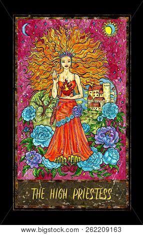 High Priestess. Major Arcana Tarot Card. The Magic Gate Deck. Fantasy Graphic Illustration With Occu