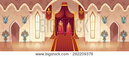 Vector Throne Room In Medieval Palace For Ceremonies And Royal Receptions, Castle Hall, Ballroom For