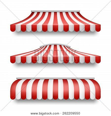 Vector Realistic Set Of Striped Awnings Isolated On Background. Clipart With Red And White Tents, Te