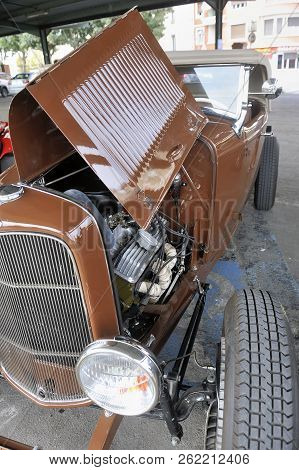 Ales, France - September 9, 2018: Hotrod Ford 1936 With A V8 Engine On A Parking Lot Of The City Of