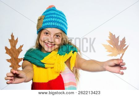 Girl Long Hair Happy Face Wear Bright Knitted Hat And Scarf White Background. How To Style Colourful