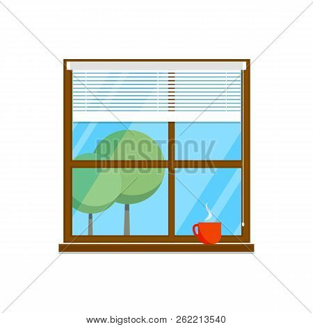 Flat Room Window Illustration With Cup And Jalousie