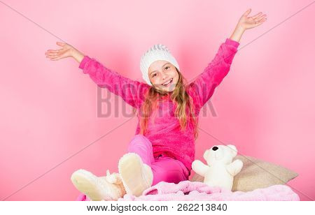 Winter Fashion Accessory. Kid Girl Knitted Hat. Winter Accessory Concept. Girl Long Hair Dream Pink