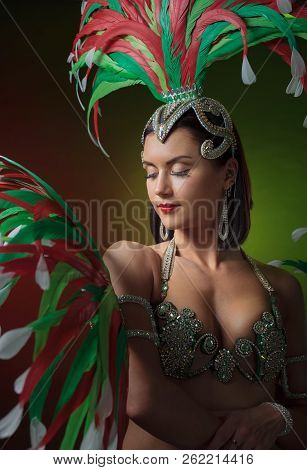 Beautiful  woman in carnival costume with rhinestones and natural feathers.  Professional  make-up, perfect headdress with  feathers and rhinestones. poster