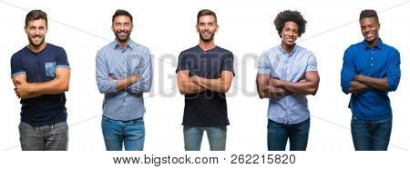 Collage of group of hispanic, american, indian men over isolated background happy face smiling with crossed arms looking at the camera. Positive person.