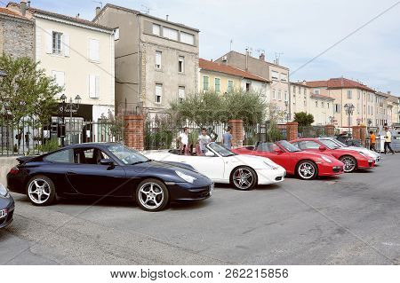 Ales, France - September 9, 2018: Porsche Sports Car Rally On A Parking Lot In The City Of Ales In T