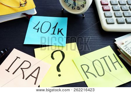 401k ira roth on pieces of paper. Retirement planning. poster