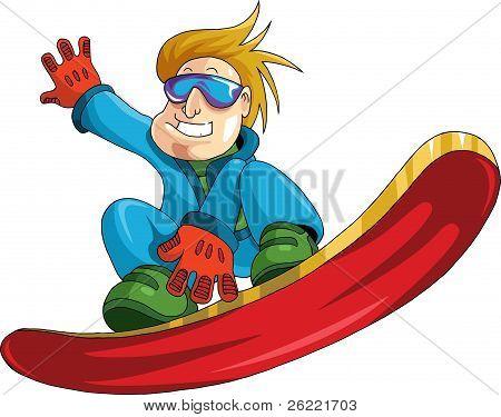 Boy On A Snowboard
