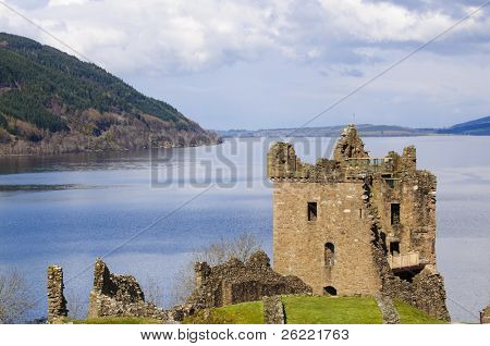 "Urquhart Castle on Loch Ness in Scotland the home of the clan Grant, and the place of the most sightings of ""Nessy"" the famous Loch Ness monster poster"