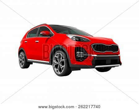 Modern Red New Car Crossover For Trips Isolated Front View 3d Render On White Background No Shadow