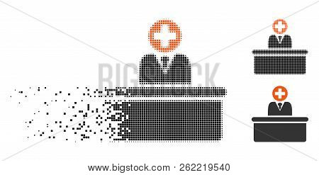 Medical Bureaucrat Icon In Dissolving, Pixelated Halftone And Undamaged Whole Variants. Particles Ar