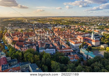 Top Aerial View To Old Town With Market Square Of Kalisz, Poland.