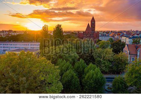 The Roman Catholic Co-cathedral St. Stanisław Biskupa Martyr In Ostrow Wielkopolski, Poland. Aerial