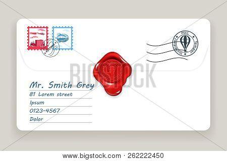 Letter Wax Seal Mailing Postal Address Mail Post Stamp Vector Illustration