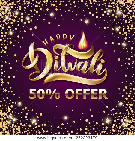 Happy Diwali Indian Festival Of Lights Holiday Greeting Sale Card Template. Vector Gold Holiday Shin