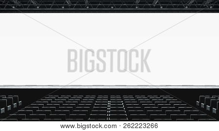 Blank White Large Screen In Presentation Hall Mockup, Front View, 3d Rendering. Empty Display For Ci