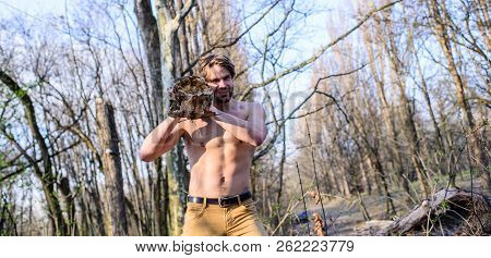 Man Brutal Sexy Lumberjack Carry Big Log On Shoulder. Man Brutal Strong Attractive Guy Collecting Wo