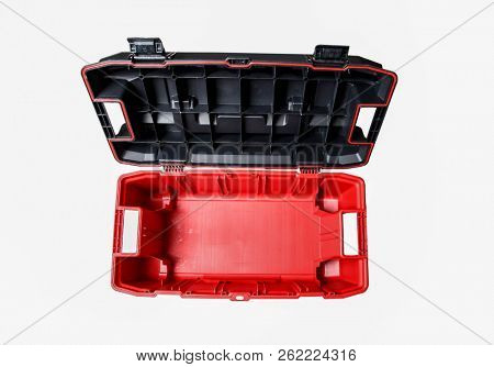 Empty red and black toolbox on white background