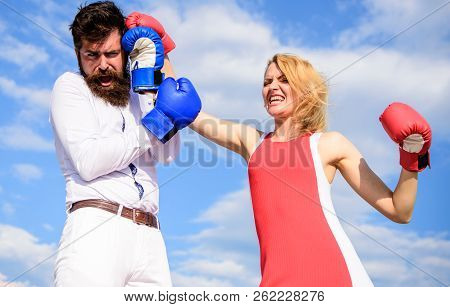 Be Ready Defend Your Point View. Couple In Love Fighting. Defend Your Opinion In Confrontation. Man