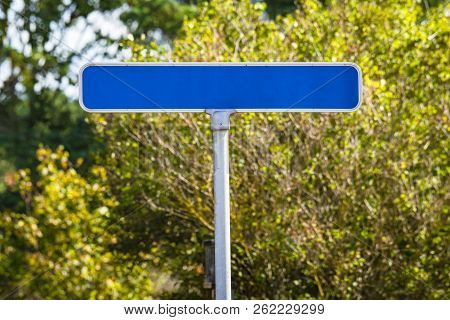 Blue Street Sign With No Text In Green Nature In The Summer