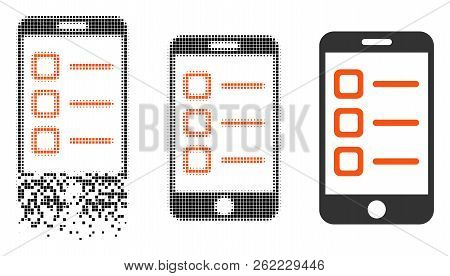 Mobile List Icon In Dissolving, Dotted Halftone And Undamaged Entire Variants. Points Are Grouped In