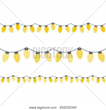 Christmas Festive Yellow Lights On String. Decorative Lights Vector Graphic Illustration. Light Bulb