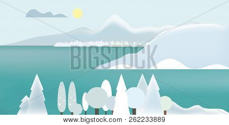 Flat Design Illustration Of Winter Mountain Landscape With Lake, Snow On Top Of Mountains And Snowy