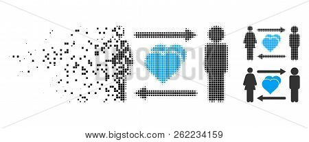 People Exchange Love Icon In Disappearing, Dotted Halftone And Undamaged Entire Versions. Pixels Are