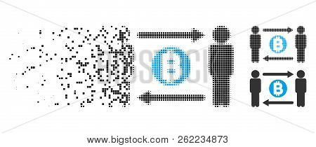 Persons Exchange Bitcoin Icon In Dispersed, Dotted Halftone And Undamaged Entire Versions. Pieces Ar