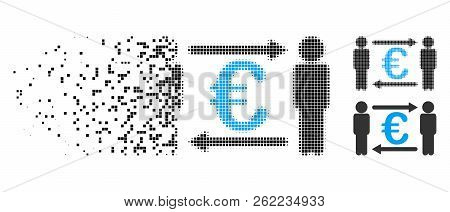 Persons Exchange Euro Icon In Disappearing, Pixelated Halftone And Undamaged Entire Variants. Pixels