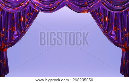 Purple Velvet Curtains With Shiny Red Stars. Ulr