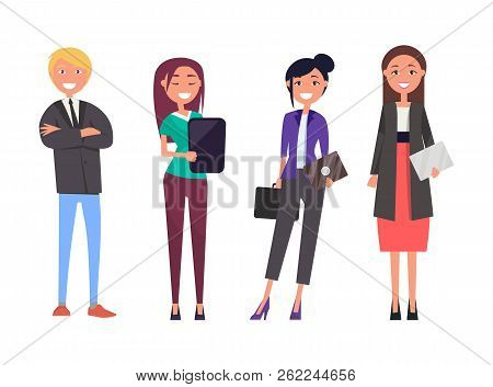 Businessman And Women With Digital Tablets Isolated Set, People On Business Meeting Vector Successfu